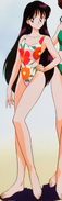 Rei Hino in a floral swimsuit