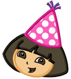 Dora wearing party hat