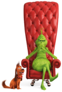 Grinch sits in the chair and max render