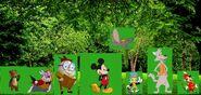 Timothy Q. Mouse, Big Bad Wolf, Jiminy Cricket, Mickey Mouse, Humpty Dumpty, White Rabbit, Jack Bear, and Dumbo