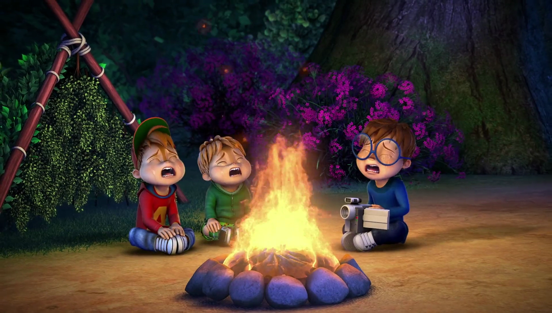 Alvin, Simon, and Theodore Crying