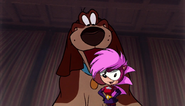 Toby licking Sonia