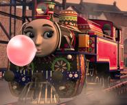 Ashima blowing bubble gum 2