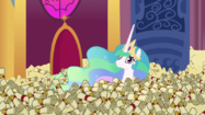 Princess Celestia in a sea of scrolls S6E15