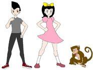 Riley and Elycia meets Rhesus Macaque
