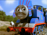 Thomas the Tank Engine wearing a winter hat