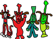 Skarloey as Pooka, Rheneas as Bartok, Peter Sam as Danny, and Trevor as Chip.