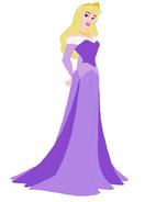 Aurora wearing a purple dress
