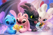 Double Date - Stitch, Angel, Toothless, and Light Fury by TsaoShin