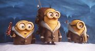 Minions stuart kevin bob with snowsuits