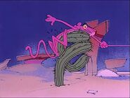 Pink panther crashes right into a cactus