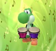Yoshi playing the bongo drums