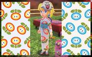 Peach kimono and sandals