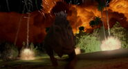 Aladar and the lemurs running from the meteor