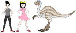 Riley and Elycia meets Struthiomimus.jpg