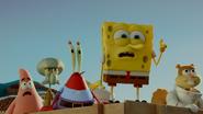Spongebob point at krabby patties