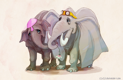 Mrs. Jumbo the Elephant With Her Calf.png