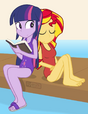 Twilight and Sunset in one-piece swimsuits