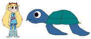 Star meets Leatherback Sea Turtle