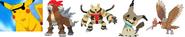 Pikatwo, Entei, Electivire, Jessie's Mimikyu, and Rico's Fearow as The Robo Pirates