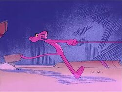 Pink panther is being pulled with a string.jpg