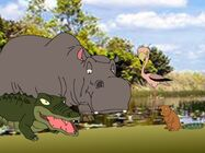 A crocodile, a hippopotamus, a flamingo and a beaver sensed Riley and his friends arrived at The Forest of Life