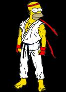 Homer Simpson as Ryu