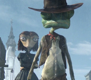 Beans and Rango facing the Mayor