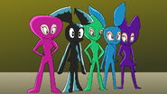 Milly and her friends were wearing rubber suits from head to toe