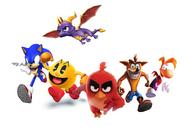 Sonic, Pac-Man, Red, Crash Bandicoot, Rayman and Spyro Running