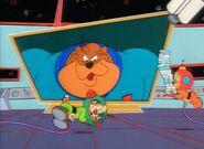Bonkers sleeping on the rocket ship