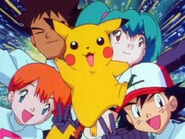 Ash, Misty, Brock, Pikachu, and Duplica