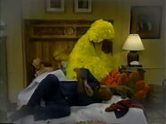 Big Bird sleeps in Gordon and Susan's bed