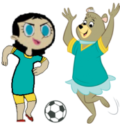 Cindy and Miss Keane Play Soccer