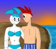 Jenny and Brad walkin' on the sunset seaside