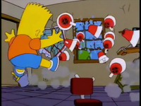 Bart fell back on the wall and say TESTING!