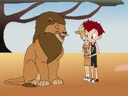 As he calmed down, Bradley told the lion that it thinks it's zebras