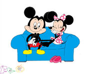 Mickey tickles Minnie