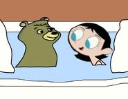 Cindy Bear and Miss Keane Taking a Bubble Bath