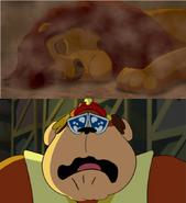 Bingo cries over a sad scene of Mufasa's Death by Pstephen054