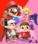 (Family) Mario, Princess Peach, Sci-Twi, Ness, Adrien Agreste-Cat Noir and Villager (Male)
