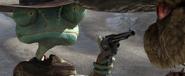 Rango glaring at Rattlesnake Jake