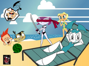 Jenny and Her Friends Relaxing at the Beach