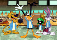 Daffy won at the bowling alley