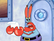 Krabs reading a note