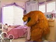 Rachel gives Bear a hug