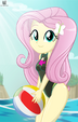 Fluttershy holding her beach ball