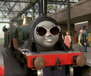 Emily the beautiful engine with sunglasses