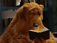 Bear falls asleep while reading his book