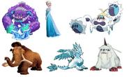 Manny, Elsa, Glaishur, Ikkakumon, Ice Dragon & Crabominable